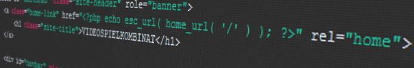 HTML/PHP Codeausschnitt der Seite Videospielkombinat.de